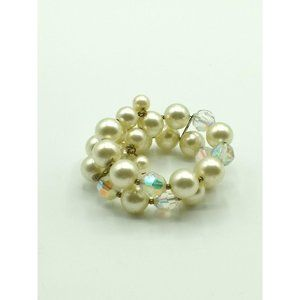 Jewelry - Vintage Double Row Pearl and Crystal Cuff Bracelet